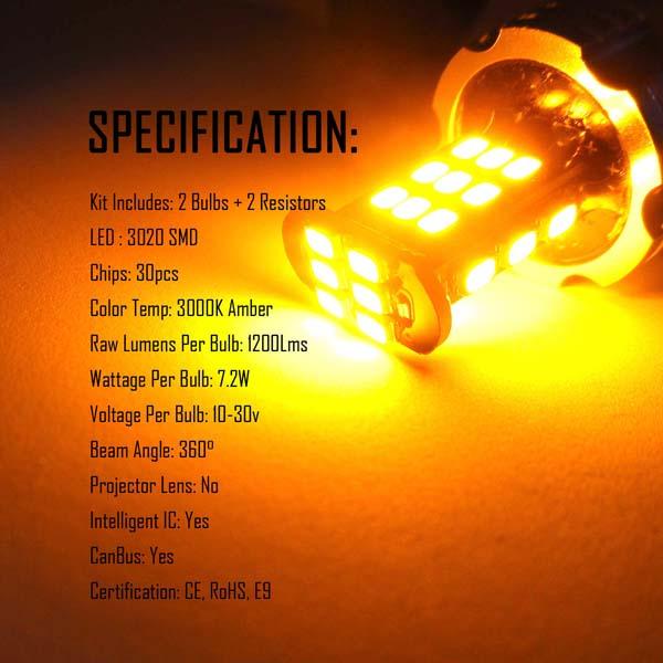 CANBUS Error Free 12v 24v P21W BA15s LED Reverse Break Tail Indicator Bulbs